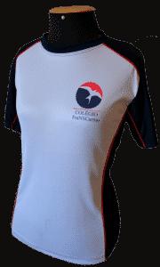 uniformes escolares camiseta dividida azul branca